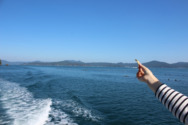 かっぱえびせんを鳥にあげる|猫島(猫の島)で有名な『田代島』を中心に巡る1泊2日石巻離島の旅